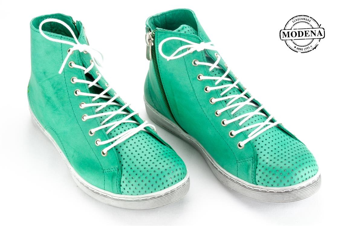 Modena schoenmode - perforee basket - groen perforee basket